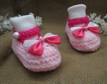 c6bd7dcd6ea2e c18 3 to 9 Months Medium Pink and Dark Pink Baby Girl Crochet Shoes