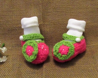 4596be1a1656c c4 and c10 Newborn to 3 Months Hot Pink Strawberry Baby Girl Crochet Shoes