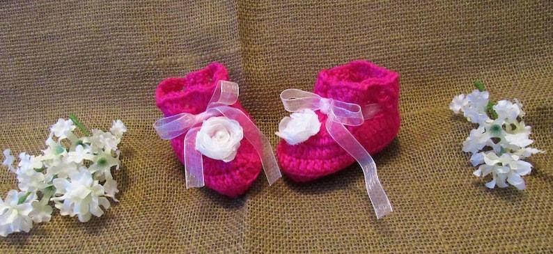 6187d73dfb605 C05 Newborn to 6 Months Hot Pink Booties Baby Girl Crochet