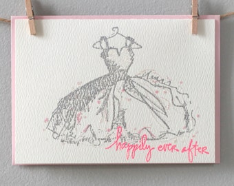 Wedding, engagement or anniversary card - happily ever after dress by EMandBELLE