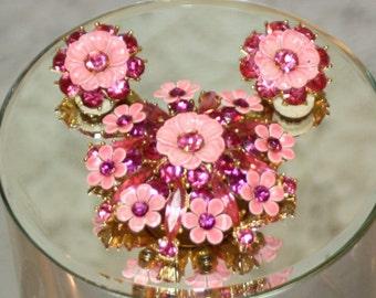 Vintage Pastel Pink Flower Brooch and Earring Set Demi Paurue