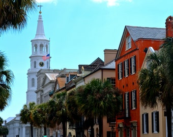 Travel Photography- A View Of St. Michael's Church- Charleston, South Carolina, Southern, Church, Landscape, Historic, Fine Art Photo