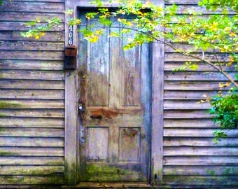 Fine Art Photography - Door with Aged Colors - Southern, Rural, Landscape, Aged, Weathered Door, Georgia,  Travel Photography-8x10 Wall Art
