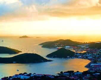 Travel Photography- Sunrise In St. Thomas, U.S. Virgin Islands- Nature, Ocean, Beach, Island, Fine Art Photography