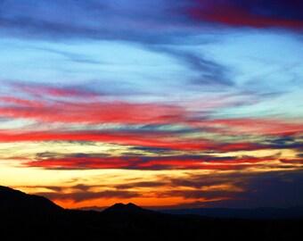 Travel Photography- Southwestern Sunset-Arizona Sky- Nature, Landscape, Skyline, Art, 8x10, Abstract, Fine Art Photography- Etsy Wall Art