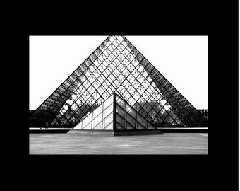 Paris Photography-Louvre Pyramid in Black and White-French, Monochromatic, Architectural, Travel, Fine Art Photography