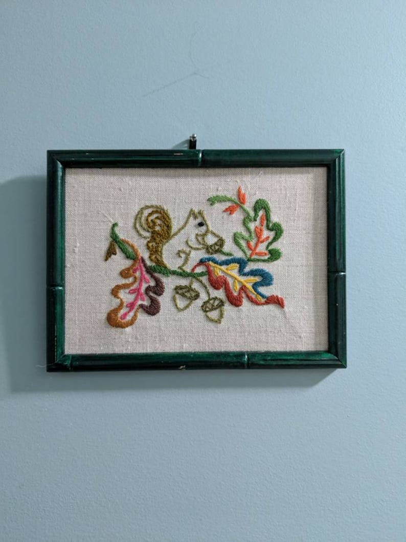 Squirrel Crewel Framed Embroidery Vintage Embroidery Art Framed Art Squirrel Art Thread Art Fall Decor Country Chic Furry Friends Art Acorn
