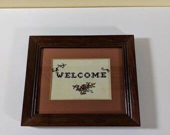 Framed Cross Stitch Welcome Sign Embroidered Welcome Sign Neutral Colored Embroidery Framed Embroidery Framed Cross Stitch House Warming art