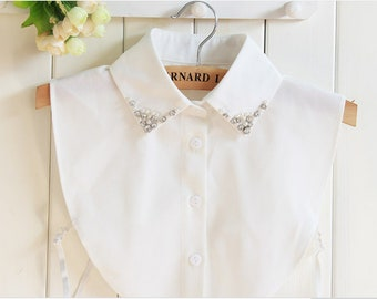 Designer Peter Pan Collar Removable Detachable Oversized Collar Vintage Style Handmade Collar High Quality Personalized gift for Women
