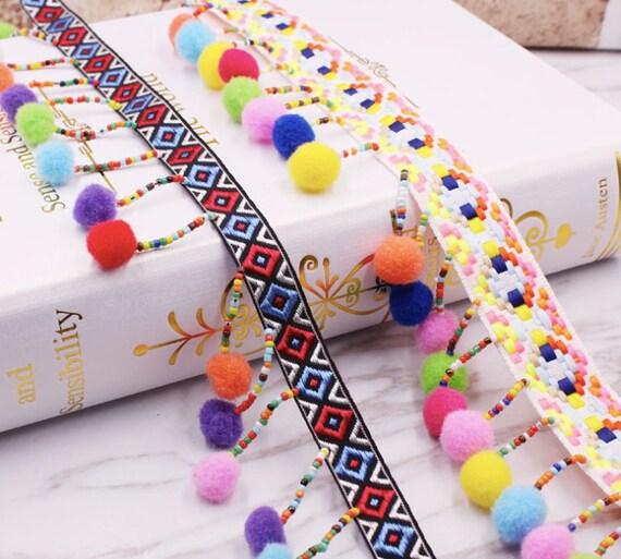Pendant Pom Pom Ball for Sewing S51 3 yards Rainbow Pom Pom Trim For Curtains Boho Pom Pom Ribbon for Cushions