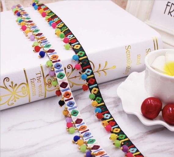 7 Colours Ball Rainbow Pom Pom Bobble Trim Braid Fringe Ribbon Edging Craft NEW