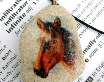 Horse necklace,horse pendant, horse charm, horse beach stone, horse jewelry, stone,horse head,painted stone necklace,