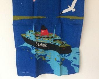 Sealink vintage Irish linen tea towel - British ferry, ocean, seagulls, 1970, nautical