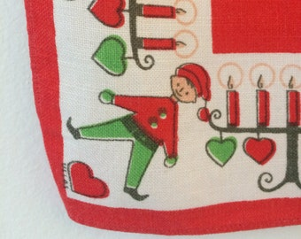 vintage Scandinavian holiday table runner - elves, candles, hearts, red and green, signed by Hill