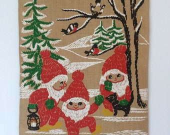 vintage Scandinavian holiday burlap wall hanging - by Hill, printed with happy tomte, robins, fir trees, snow