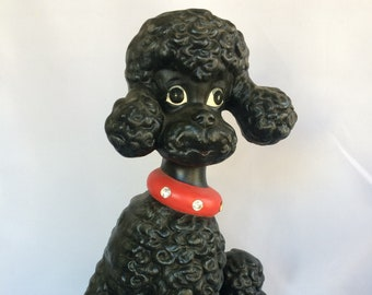 vintage hand made large ceramic black Standard Poodle - hand painted, eyelashes, red collar with rhinestones