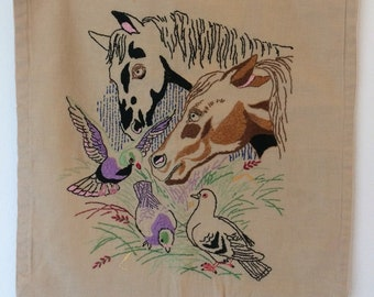 vintage embroidered pillowcase - horses and their pigeon friends!