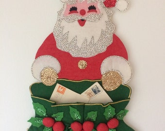 handmade vintage sparkly Santa wall hanging - mailbag with letters, holly, beaded, sequins, Merry Christmas