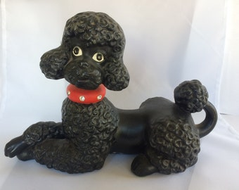ceramic black Standard Poodle - hand made and hand painted, red collar with rhinestones, eyelashes!