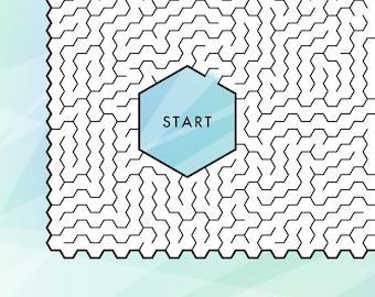 Hexagon Maze, printable PDF, full-page maze, challenging!
