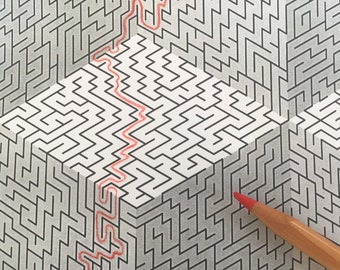 3D illusion Maze, printable PDF, full-page maze, challenging!