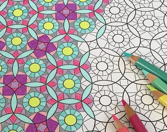 Infinite Geometry - 12 page print & color PDF coloring book for all ages