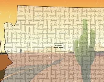 Arizona Maze, printable PDF, full-page maze, challenging!