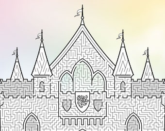 Fairytale Castle Maze, printable PDF, full-page maze, challenging!