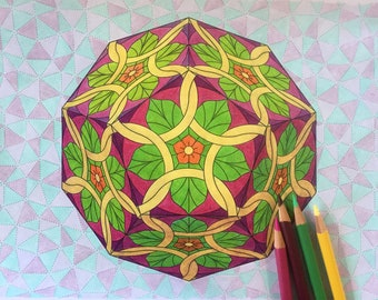 The Platonic Solids - 15 page coloring book for all ages, printable PDF coloring pages by Patrick Hoesterey