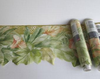 90s Vintage Wallpaper Boarder Floral Wallpaper Boarders Cut out WallPaper Boarders Wide Green and Peach Decor
