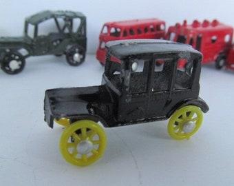 Antique Black Coupe 1950s Antique Miniature Toy Cars Diecast Midgetoy Japan Mini Shadow Box Miniatures for Shadow Boxes Vintage Mini Cars