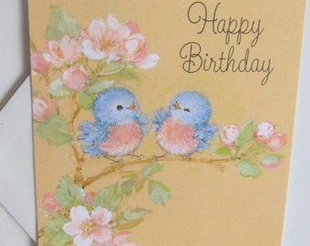 Blue Birds Vintage Birthday Card With Envelope Hallmark Cards Unused Greeting Ambassador