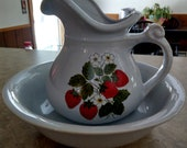 Strawberry Fields Pitcher and Bowl Basin USA Pottery Ewer antique bathroom Decor Water Pitcher Basins Guest Room Decor Bedroom Vanity Decor