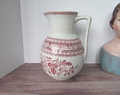 Lovely RARE Red Transferware Pitcher Antique Red White Ironstone Red and White Decor Victorian Antiques Red Transferware Pitcher Victorian