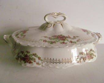 Victorian Antique Rose Large Soup Tureen Fine Dining Covered Serving Bowl Covered Compote Bowl Antique Farmhouse Table decor