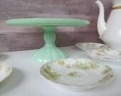 Pedestal Jadeite Cake Stand Plates Cupcake Stands Cupcake Pedestal Cake Plate Jadeite Green Glass Jadeite Kitchen Decor 90s Repro Jadeite
