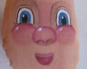 Pre Painted Doll Face For Doll Making Cloth Doll Face Hand Painted Folk Dolls Craft Supplies Doll Head Primitive Dolls Blue Eye Doll Big Eye