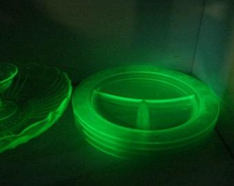 Uranium Glass Green Depression Glass Divided Plates Depression Glass Green Grill Plate MacBeth Evans Dogwood Apple Blossom Wild Rose Pattern