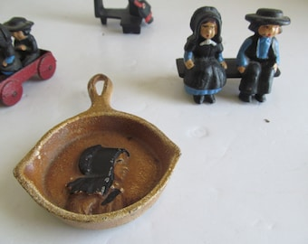 Amish Cast Iron Frying Pan Cast Iron Ash Tray Amish Quaker Decor Amish Women Amish Men Vintage Cast Iron Decor Amish Primitive Decor Amish