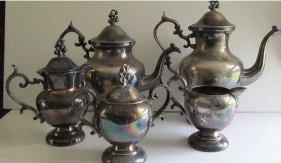 6 Pc Rare And Fabulous Antique Victorian Silver Teapot Set Victorian Tea Party Silver Coffee Tea Pot Set Silver Sugar And Creamer Spooner