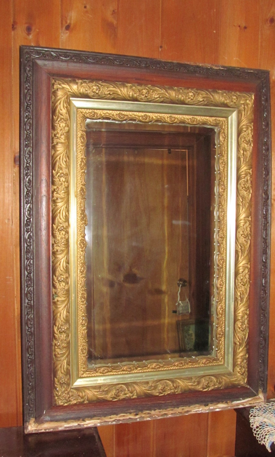 Antique Victorian Parlor Mirror Large Ornate Mirror Wood