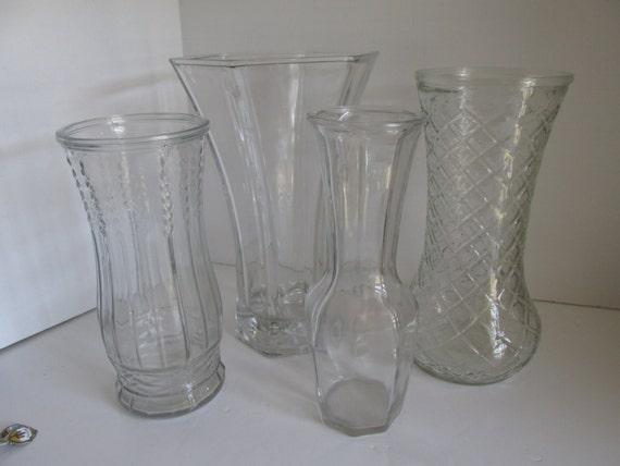 Sale Hoosier Glass Vase 4041 Large Heavy Clear Glass Flower Etsy