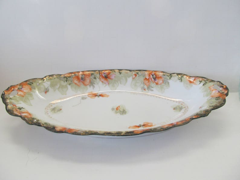 Beautiful Poppies Long Serving Bowl Plate  Bowl with Open Handles Antique Plates Malmaison Germany JTC Makers Mark Poppy Decor Poppy china