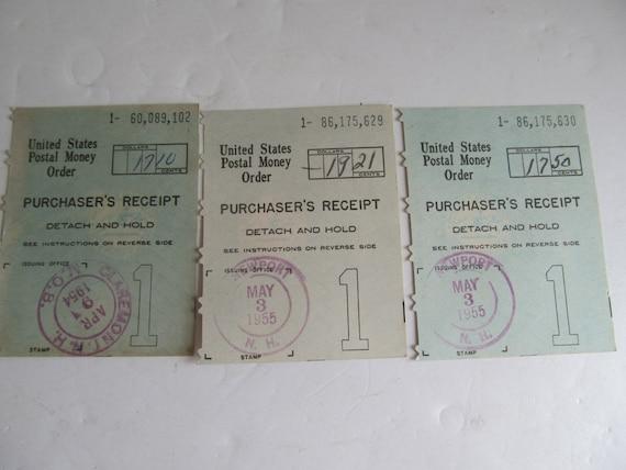 1955 United States Postal Money Order Receipts Newport Nh Post Etsy
