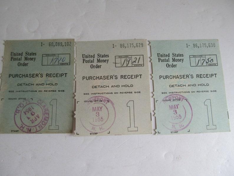 1955 United States Postal Money Order Receipts Newport NH Post Office  Postal Memorabilia Postal Paper Ephemera Scrapbooking Supplies History