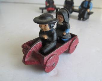 Amish Cast Iron Decor  Little Red Wagon  Amish Quaker Decor Amish Women Amish Men Vintage Cast Iron Decor Primitive Decor Amish Children