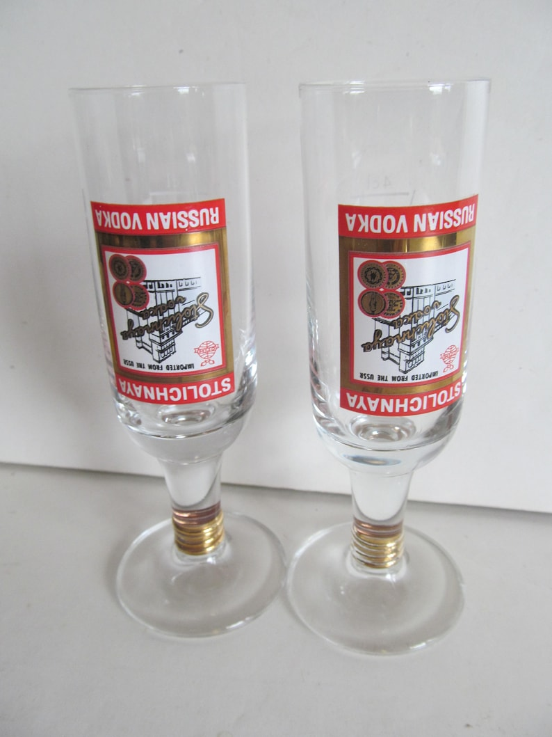 4d51a2a4639 Stolnichnaya Russian Vodka Tall Shot Glass vintage shot