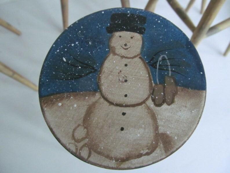Miniature Wooden Stool Primitive Snowman Wooden Doll Stool Primitive Snowmen Decor Primitive Christmas Decor Rustic Wooden Snowmen Decor