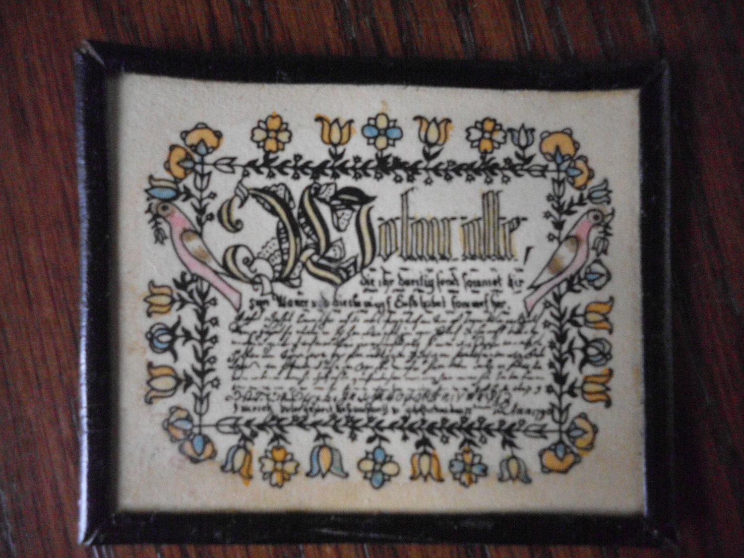 1880s Dollhouse Sampler Picture Frame Primitive Wall