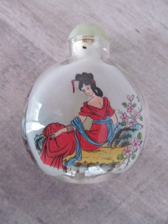 Geisha Girl Perfume Bottle Glass Painting in Bottl